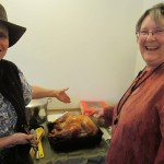 Connie & Juliene present the turkey
